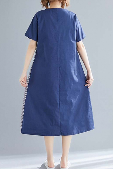 Casual Navy Short Sleeve Round Neck Stripe Print Button Detail Patchwork Linen Mid Oversize Dress for Ladies