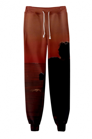Creative Popular Drawstring Waist Famous British Singer 3D Digital Print Ankle Cuffed Relaxed Sweatpants in Brown