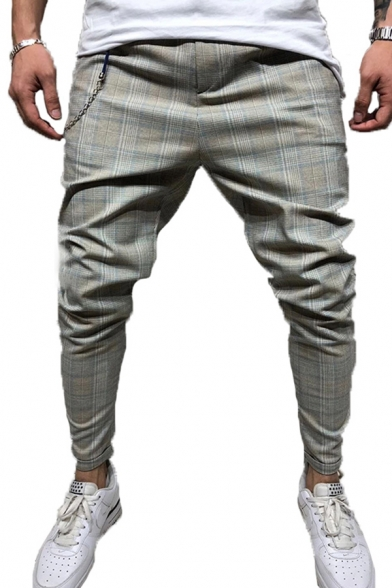 Plaid Printed Mid Rise Chain Decoration Ankle-length Stylish Pencil Pants for Guys