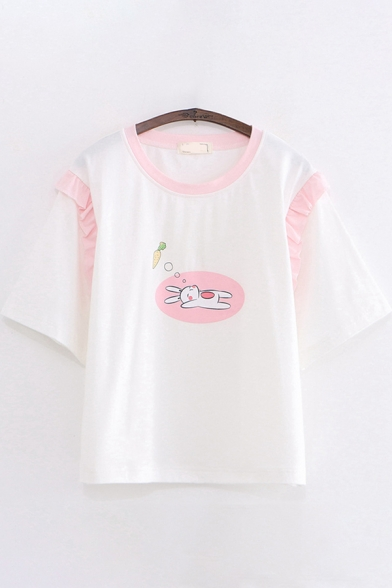 Pretty Girls Short Sleeve Round Neck Rabbit Printed Contrast Piped Ruffled Relaxed T Shirt
