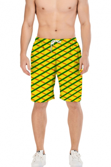 Summer Casual Mens Drawstring Waist 3D Grid Cosplay Pattern Relaxed Fit Beach Shorts in Yellow