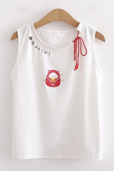 Vintage Japanese Letter Cat Graphic Bow Tie Round Neck Loose Fit Tank Top for Ladies