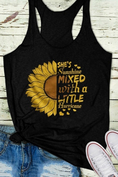 Cool Girls Sleeveless Racer Back Letter SHE'S SUNSHINE MIXED WITH A LITTLE HURRICANE Sunflower Graphic Loose Tank Top