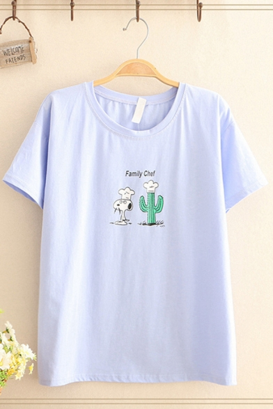 Exclusive Short Sleeve Round Neck Letter FAMILY CHEF Cartoon Dog Cactus Graphic Relaxed T Shirt for Women