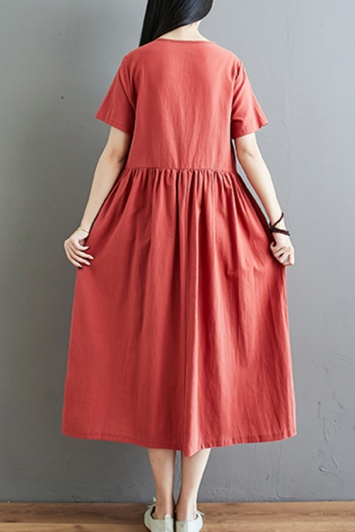 Retro Ethnic Ladies Short Sleeve Round Neck Button Up Floral Trim Linen Midi Pleated Swing Dress