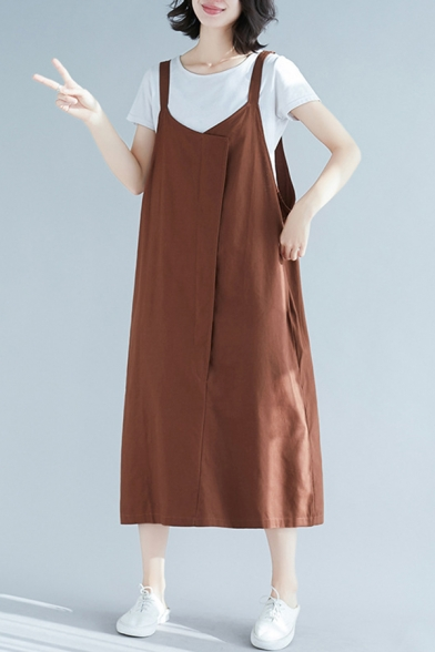 Womens Solid Color Casual Sleeveless V-Neck Linen and Cotton Patchwork Long Oversize Suspender Dress