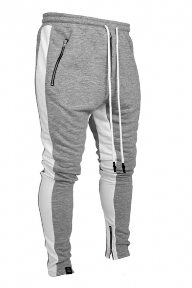 Athleta Boys Contrasted Drawstring Waist Zipper Sides Ankle Length Pencil Sweatpants in Gray