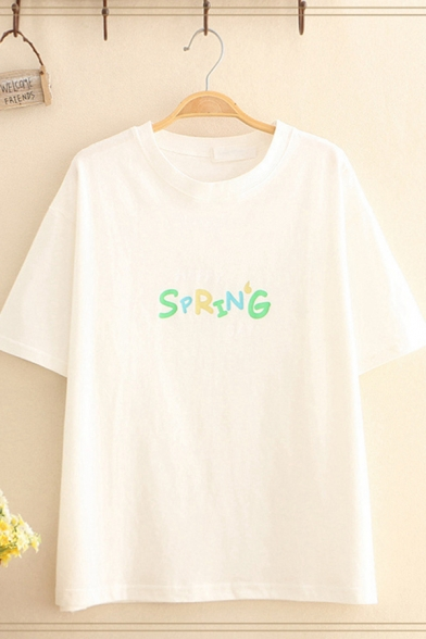 Chic Simple Womens Short Sleeve Round Neck Letter SPRING Print Relaxed Fit Tee
