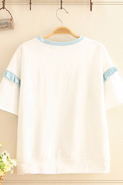 Cute Womens Short Sleeve Round Neck Stringy Selvedge Chinese Letter Duck Graphic Contrasted Relaxed T Shirt
