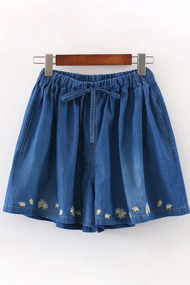 Fancy Daisy Floral Embroidered Drawstring Waist Bleach Relaxed Wide-Leg Denim Culotte Shorts for Girls