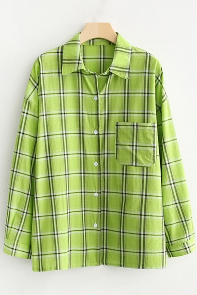 Leisure Womens Plaid Pattern Long Sleeve Spread Collar Button down Chest Pocket Loose Shirt Top