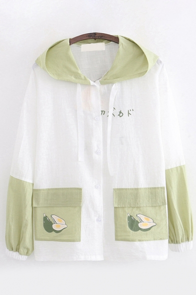 Popular Sun Protection Japanese Letter Avocado Graphic Long Sleeve Hooded Button up Drawstring Contrasted Flap Pockets Loose Jacket