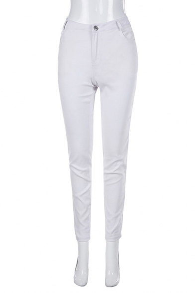 Solid Color Stylish Mid Waist Ankle Length Skinny Pants for Guys