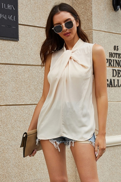 Chic Street Girls Sleeveless Twist Neck Ruched Asymmetric Hem Loose Fit Blouse in White