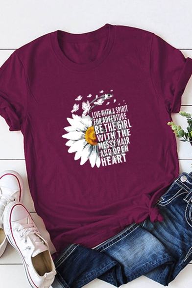 Fancy Girls Roll Up Sleeve Crew Neck Letter BE THE GIRL Floral Printed Relaxed Graphic T-Shirt