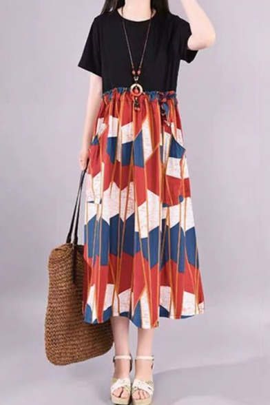 Fashionable Girls Short Sleeve Round Neck Geo Printed Patchwork Stringy Selvedge Waist Colorblock Linen Maxi Pleated Swing Dress