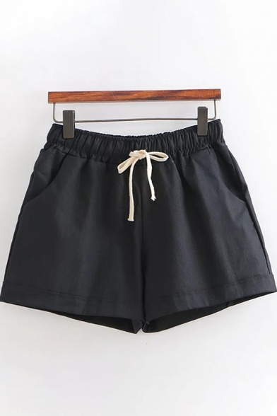 Leisure Girls Drawstring Waist Solid Color Linen and Cotton Rolled Cuffs Relaxed Daily Shorts, Black;pink;white;dark gray, LC615511