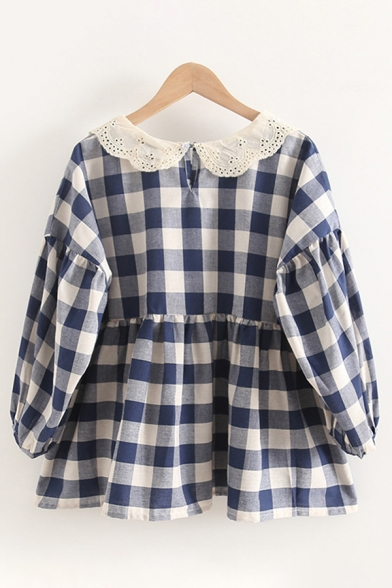 Lovely Girls Checkered Printed Blouson Sleeve Hollow out Peter Pan Collar Ruffled Loose Fit Shirt in Blue