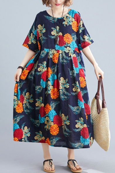 Vintage Pretty Ladies Short Sleeve Round Neck All Over Floral Print Linen Maxi Pleated Oversize Dress in Navy