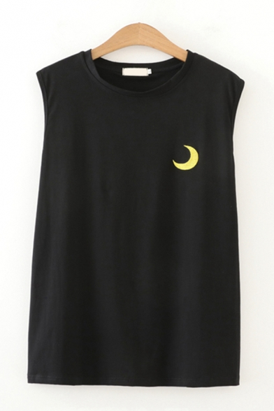 Cloud Sun Moon Embroidered Sleeveless Crew Neck Loose Fit Streetwear Tank Top for Girls