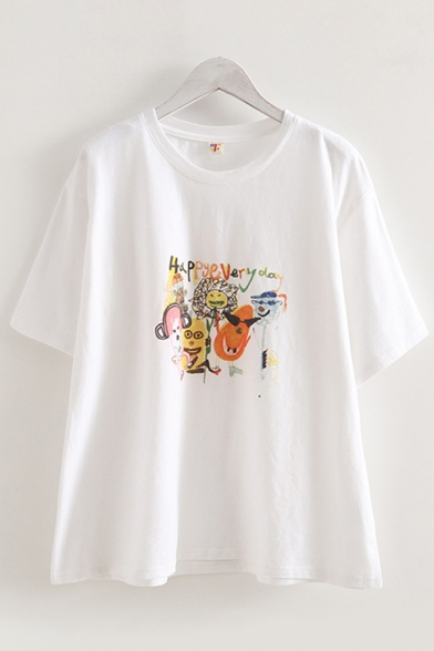 Letter Happy Every Day Cartoon Graphic Short Sleeve Round Neck Loose Chic Tee Top in White