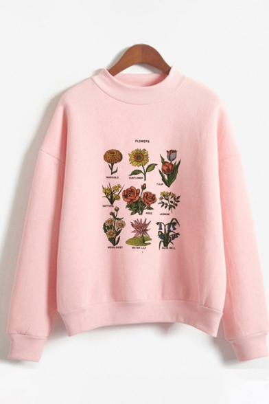 New Fashion Girls Long Sleeve Crew Neck Floral Printed Relaxed Fit Pullover Sweatshirt, Pink;white, LC614904