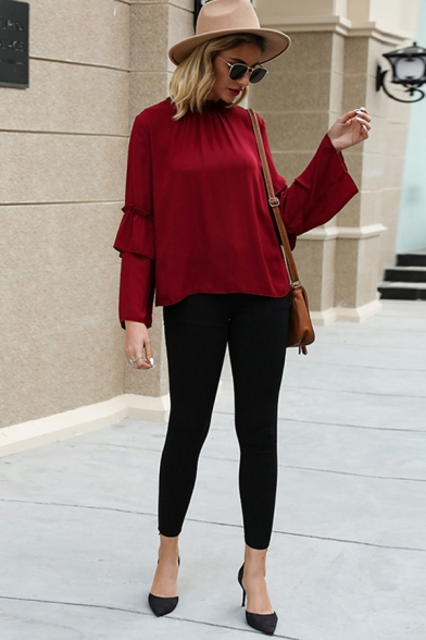 Stylish Street Womens Bell Sleeve Crew Neck Ruffled Trim Stringy Selvedge Cut Out Loose Blouse Top in Red