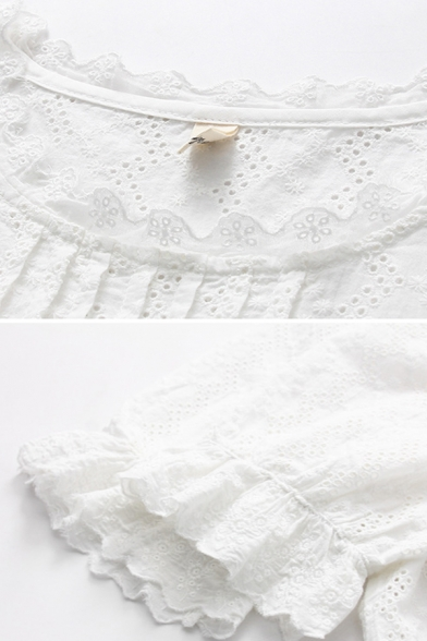 Trendy Ladies Short Sleeve Round Neck Stringy Selvedge Pleated Lace Relaxed Fit Shirt in White