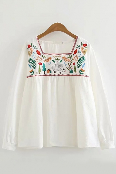 Ethnic Womens Floral Embroidered Long Sleeve Square Neck Loose Fit Shirt in White