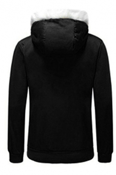 Popular Anime Game Long Sleeve Hooded Zip Up Drawstring Fuzzy Trim Contrasted Sherpa Liner Loose Thick Hoodie