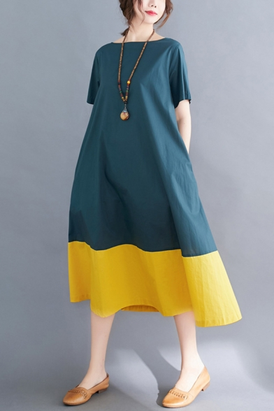 Popular Vintage Ladies Short Sleeve Round Neck Color Block Linen and Cotton Maxi Oversize Dress in Blue and Yellow