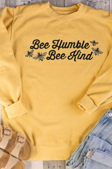 Popular Womens Long Sleeve Crew Neck Letter BEE HUMBLE BEE KIND Bee Print Relaxed Fit Pullover Graphic Sweatshirt in Yellow, LC614847