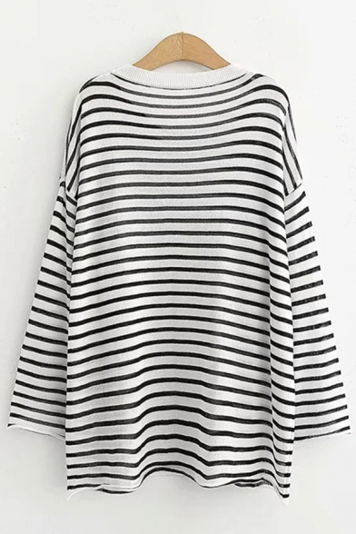 Stylish Womens Stripe Printed Long Sleeve Contrast Crew Neck Loose Fit Graphic Pullover Tee