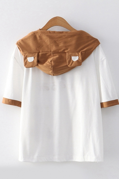 White Japanese Letter Bear Grpahic Contrasted Short Sleeve Hooded Button up Drawstring Patched Pocket Loose Fashion T-Shirt for Girls