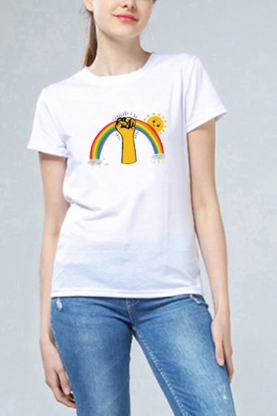 Basic Womens Short Sleeve Crew Neck Rainbow Fist Sun Printed Relaxed Fit T Shirt in White, LC615654