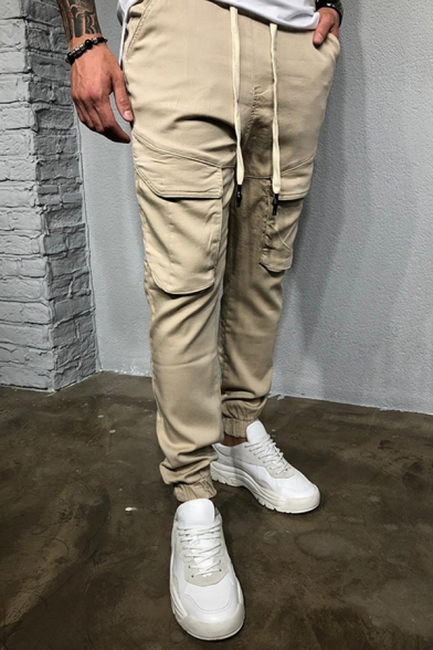 Casual Solid Color Flap Pockets Drawstring Waist Cuffed Ankle Length Pencil Cargo Pants for Men