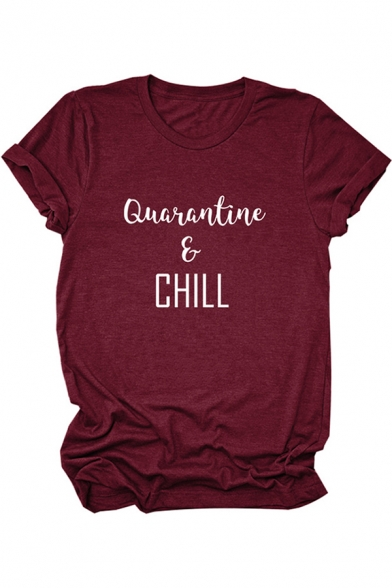 Casual Womens Rolled Short Sleeve Crew Neck Letter QUARANTINE & CHILL Print Regular Fit T Shirt