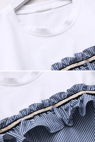 Girls Stringy Selvedge Stripe Print Patchwork Short Sleeve Crew Neck Relaxed Wrap T-Shirt in White