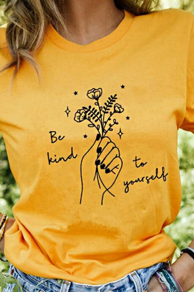 Basic Womens Letter Be Kind to Yourself Floral Graphic Short Sleeve Crew Neck Relaxed T Shirt