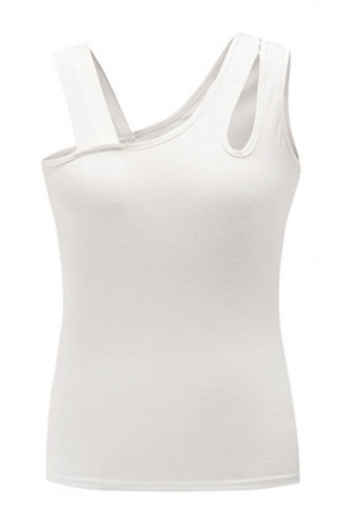 Chic Womens Solid Color Asymmetric Neck Cut out Regular Fit Tank Top