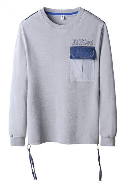 Eriksson Letter Flap Pocket Long Sleeve Crew Neck Fringe Decoration Loose Pullover Leisure Sweatshirt for Guys