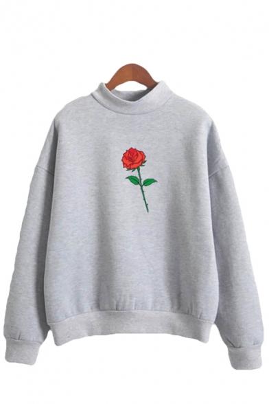 Korean Girls Rose Pattern Long Sleeve Mock Neck Loose Fit Pullover Sweatshirt