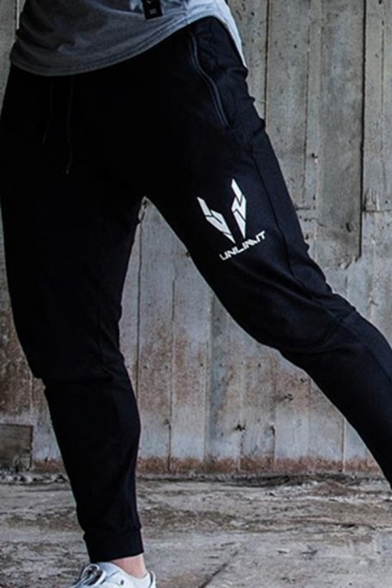 Muscle Guys Letter Geo Logo Graphic Drawstring Waist Cuffed Ankle Length Slim Fit Sweatpants in Black