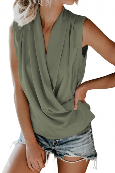 Popular Womens Solid Color Sleeveless Surplice Neck Regular Fit Tank Top