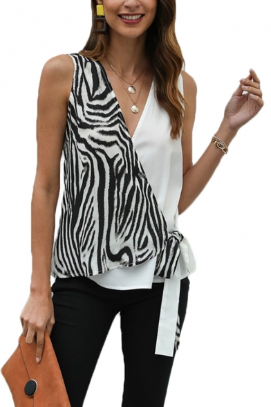 Trendy Womens Abstract Stripe Printed Surplice Neck Bow Tie Patched Regular Fit Tank Top