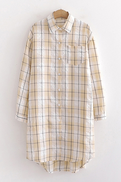 Trendy Womens Plaid Printed Ribbed Long Sleeve Turn-down Collar Button down Chest Pocket Longline Loose Shirt