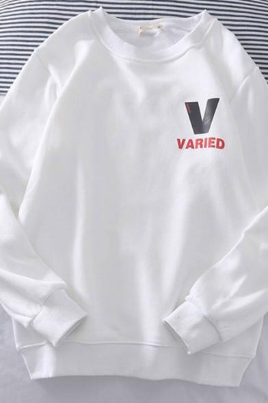 Basic Mens Letter V Varied Printed Long Sleeve Round Neck Regular Fitted Pullover Sweatshirt