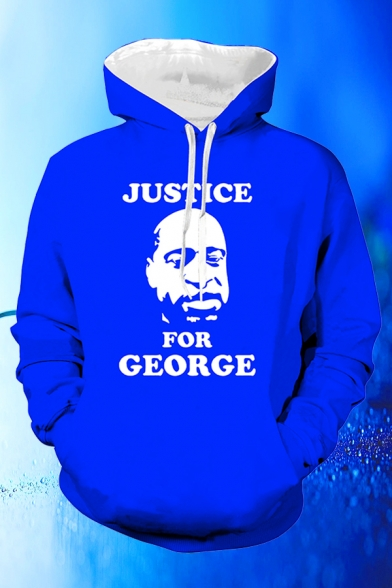 Fashion Boys Letter Justice for George Figure Graphic Long Sleeve Drawstring Pouch Pocket Loose Hoodie