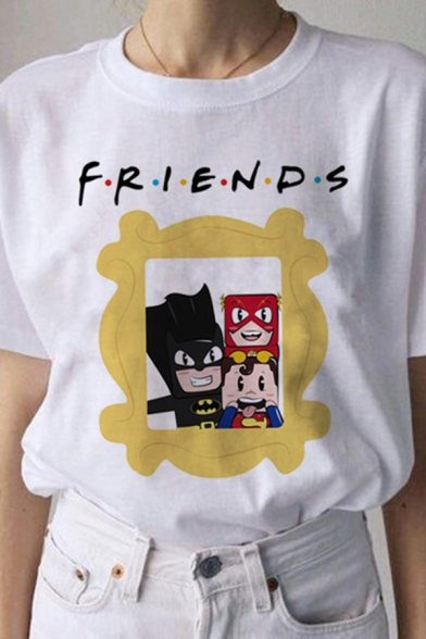 Letter Friends Cartoon Graphic Short Sleeve Crew Neck Relaxed Basic T-shirt in White