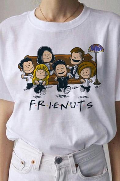 Summer Girls White Letter Frienuts Cartoon Figures Graphic Short Sleeve Crew Neck Loose T Shirt